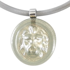 LION modern classic art to wear murano glass statement necklace with 925 silver-leaf on rubber tubino cord, handmade in Italy