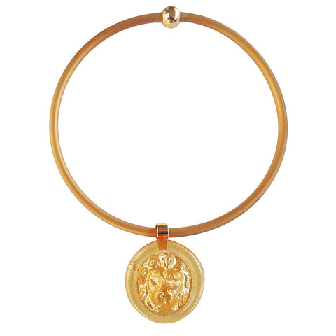 LION • Murano Glass Necklace • Gold-Leaf