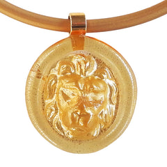LION modern classic art to wear murano glass statement necklace with 24kt gold-leaf on rubber tubino cord, handmade in Italy