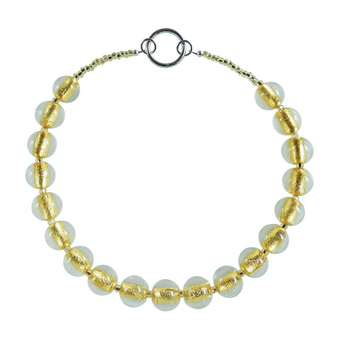 SPARKLE • murano glass necklace • CRYSTAL | GOLD