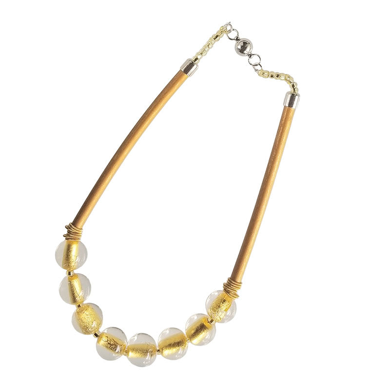 SPARKLE • murano glass necklace • CRYSTAL | GOLD gold