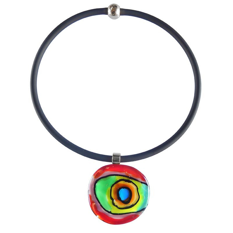 ABSTRACT B red multicolor modern art to wear murano glass statement necklace on rubber tubino cord, handmade in Italy, inspired by artist Mark Rothko