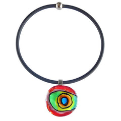 ABSTRACT B multicolor modern murano glass necklace with black tubino, handmade in Italy, art to wear inspired by Mark ROTHKO
