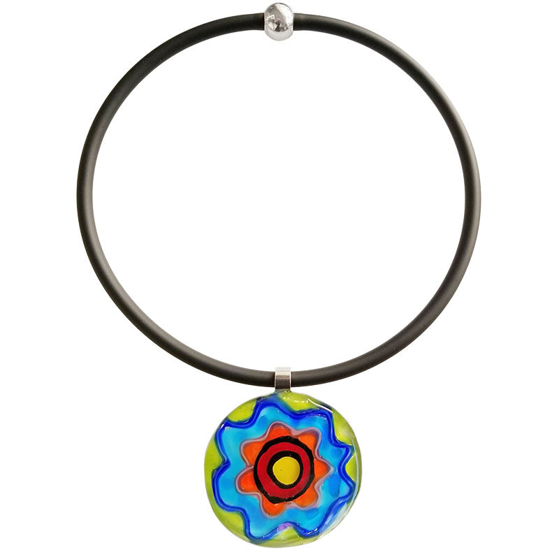 ABSTRACT F multicolor modern murano glass necklace with black tubino, handmade in Italy, art to wear inspired by Peter MAX