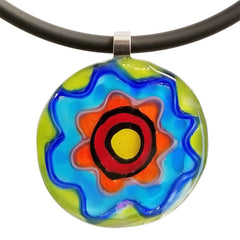 ABSTRACT F multicolor modern murano glass necklace closeup, handmade in Italy, art to wear inspired by Peter MAX