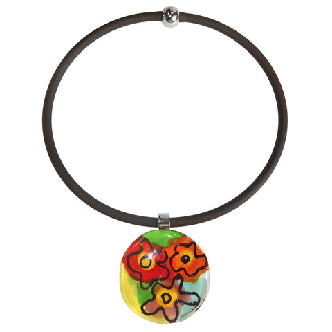 "ABSTRACT ""G"" • murano glass necklace • MULTI 