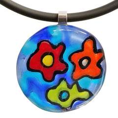 ABSTRACT G multicolor modern murano glass necklace closeup, handmade in Italy, art to wear inspired by Andy WARHOL