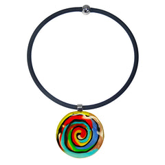 ABSTRACT H multicolor modern murano glass necklace with black tubino, handmade in Italy, art to wear inspired by Peter MAX