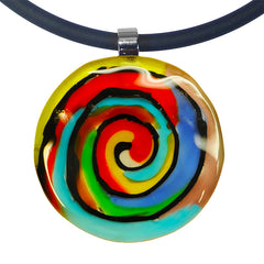 ABSTRACT H spiral multicolor modern art to wear murano glass statement necklace on rubber tubino cord, handmade in Italy, inspired by artist Mark Rothko