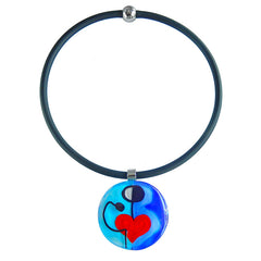 ABSTRACT K modern murano glass heart necklace with black tubino, handmade in Italy, art to wear inspired by Joan MIRO