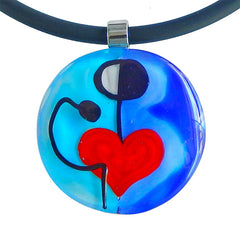 ABSTRACT K modern murano glass heart necklace closeup, handmade in Italy, art to wear inspired by Joan MIRO