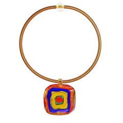 Art to wear WASSILY #1 multicolor 24kt gold-leaf Murano glass necklace on gold cord, inspired by KANDINSKY, handmade in Italy