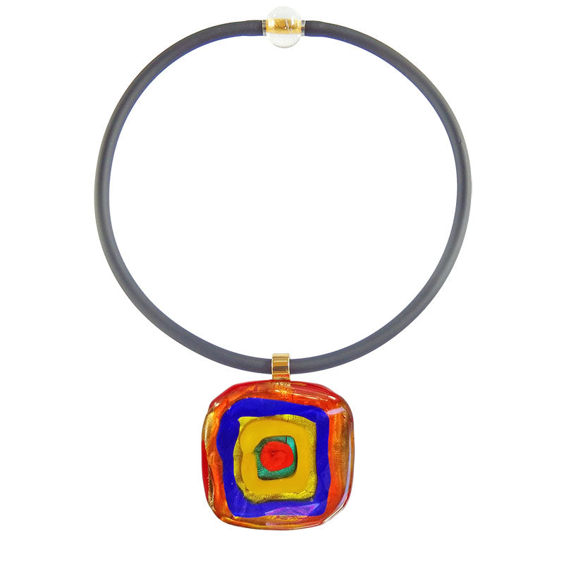 Art to wear WASSILY #1 multicolor 24kt gold-leaf Murano glass necklace on black cord, inspired by KANDINSKY, handmade in Italy
