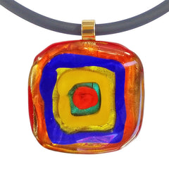Close-up of WASSILY #1 multicolor 24kt gold-leaf Murano glass necklace, inspired by KANDINSKY, handmade in Italy