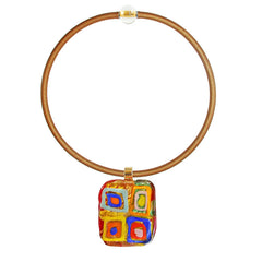 Art to wear WASSILY #2 multicolor 24kt gold-leaf Murano glass necklace on gold cord, inspired by KANDINSKY, handmade in Italy