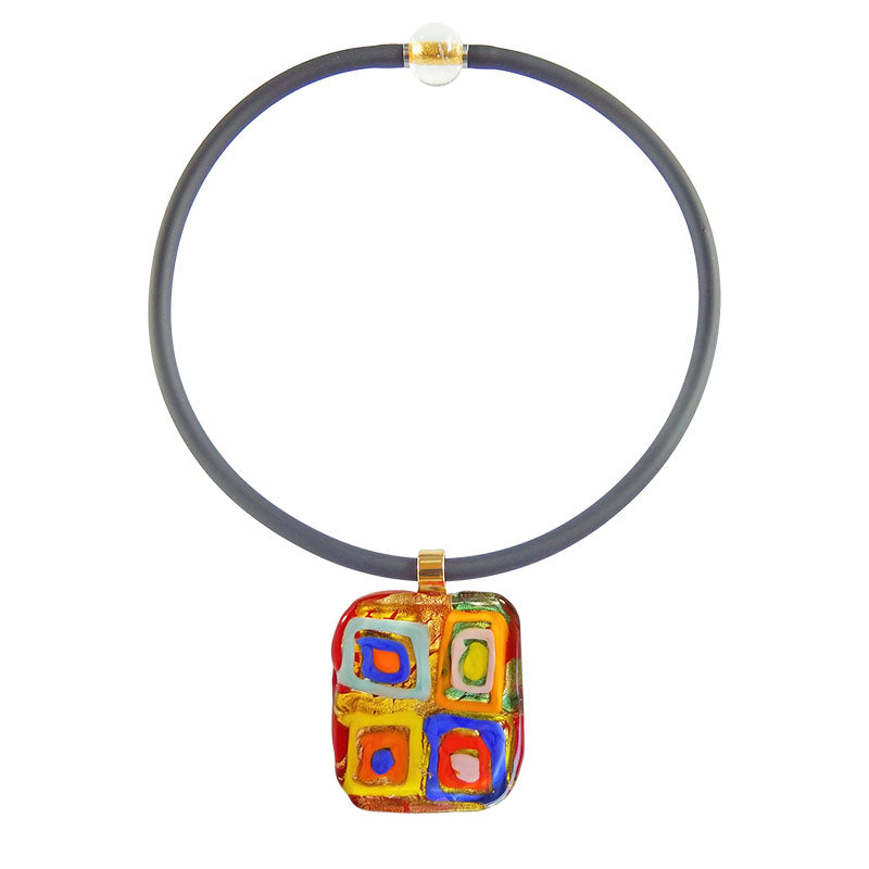 Art to wear WASSILY #2 multicolor 24kt gold-leaf Murano glass necklace on black cord, inspired by KANDINSKY, handmade in Italy
