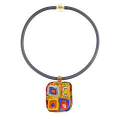 WASSILY 2 modern murano glass necklace, 24kt gold leaf pendant on black tubino, handmade in Italy, art to wear inspired by Wassily Kandinsky