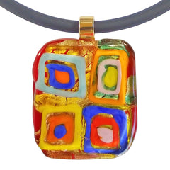 Close-up of WASSILY #2 multicolor 24kt gold-leaf Murano glass necklace, inspired by KANDINSKY, handmade in Italy