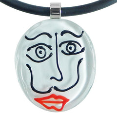 Close-up of black white SKETCH #2 Murano glass necklace, inspired by DALI line drawings, handmade in Italy