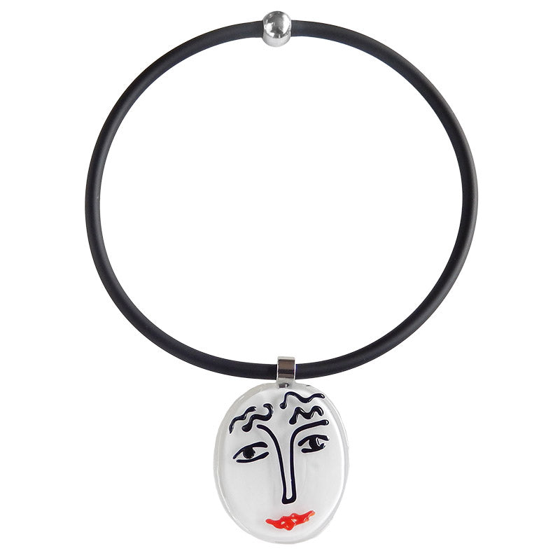 Art to wear black white SKETCH #6 Murano glass necklace, inspired by MATISSE line drawings, handmade in Italy