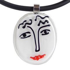 SKETCH#6 MATISSE black white red fun modern art to wear murano glass statement necklace on rubber tubino cord, handmade in Italy, inspired by artist Henri Matisse