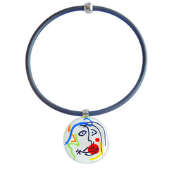 Art to wear white multicolor SKETCH #8 Murano glass necklace, inspired by MIRO' drawings, handmade in Italy