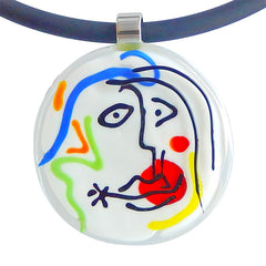 Close-up of white multicolor SKETCH #8 Murano glass necklace, inspired by MIRO' drawings, handmade in Italy