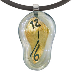 MELTING CLOCK • murano glass necklace • GOLD | black