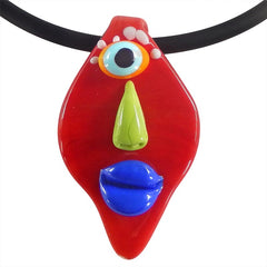 ALIEN RED fun multicolor modern art to wear murano glass statement necklace on rubber tubino cord, handmade in Italy
