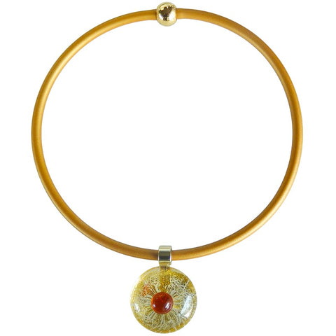 GOLDEN EYE • murano glass necklace • AMBER | gold