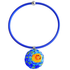 VINCENT 1 starry night blue multicolor murano glass necklace with cobalt tubino, handmade in Italy, art to wear inspired by Vincent Van Gogh