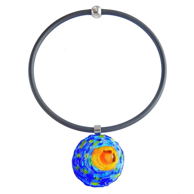 VINCENT 1 starry night blue multicolor murano glass necklace with black tubino, handmade in Italy, art to wear inspired by Vincent Van Gogh