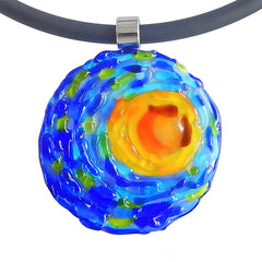 VINCENT 1 starry night blue multicolor murano glass necklace closeup, handmade in Italy, art to wear inspired by Vincent Van Gogh