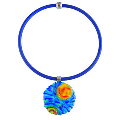 Art to wear starry night VINCENT #2 Murano glass necklace on cobalt tubino cord, inspired by VAN GOGH, handmade in Italy