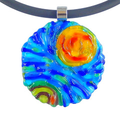 Close-up of starry night VINCENT #2 Murano glass necklace, inspired by VAN GOGH, handmade in Italy