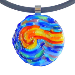 VINCENT #3 multicolor blue starry night modern art to wear murano glass statement necklace on rubber tubino cord, handmade in Italy, inspired by artist Vincent Van Gogh