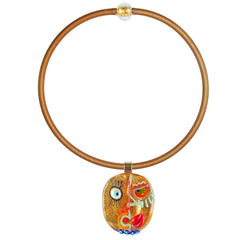 CUBIST FACE 1 modern murano glass necklace, 24kt gold leaf pendant on gold tubino, handmade in Italy, art to wear inspired by Pablo Picasso