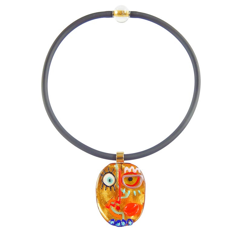 FACE #1 best selling 24kt gold fun modern art to wear murano glass statement necklace on rubber tubino cord, handmade in Italy, inspired by cubist artist Pablo Picasso
