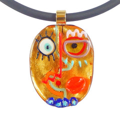 CUBIST FACE 1 modern murano glass necklace, 24kt gold leaf pendant closeup, handmade in Italy, art to wear inspired by Pablo Picasso