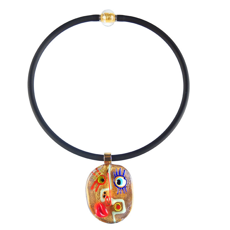 FACE #2 best selling 24kt gold fun modern art to wear murano glass statement necklace on rubber tubino cord, handmade in Italy, inspired by cubist artist Pablo Picasso
