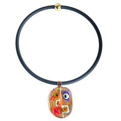 FACE#2 • CUBIST murano glass necklace • GOLD | black