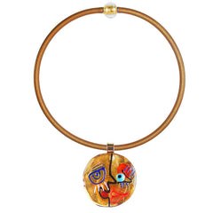 CUBIST FACE 3 modern murano glass necklace, 24kt gold leaf pendant on gold tubino, handmade in Italy, art to wear inspired by Pablo Picasso