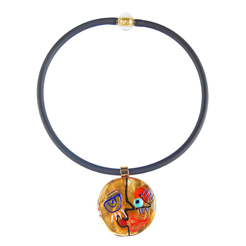 CUBIST FACE #3 • gold-leaf murano glass necklace