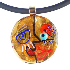 FACE#3 • CUBIST murano glass neclace • GOLD | black