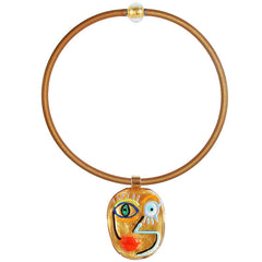 CUBIST FACE 4 modern murano glass necklace, 24kt gold leaf pendant on gold tubino, handmade in Italy, art to wear inspired by Pablo Picasso
