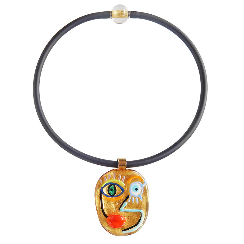 FACE #4 best selling 24kt gold fun modern art to wear murano glass statement necklace on rubber tubino cord, handmade in Italy, inspired by cubist artist Pablo Picasso