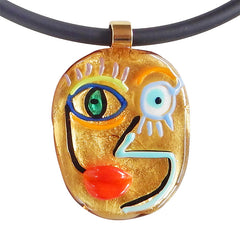 CUBIST FACE 4 modern murano glass necklace, 24kt gold leaf pendant closeup, handmade in Italy, art to wear inspired by Pablo Picasso