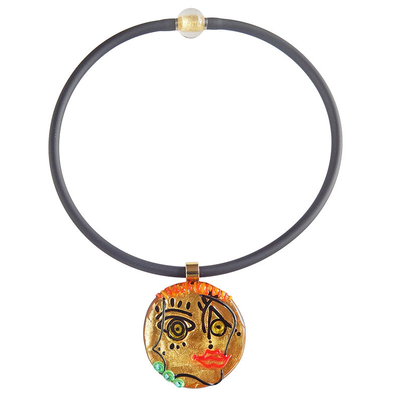 FACE #5 best selling 24kt gold fun modern art to wear murano glass statement necklace on rubber tubino cord, handmade in Italy, inspired by cubist artist Pablo Picasso
