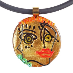 CUBIST FACE 5 modern murano glass necklace, 24kt gold leaf pendant closeup, handmade in Italy, art to wear inspired by Pablo Picasso
