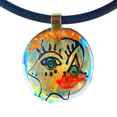 FACE#5 • CUBIST murano glass neclace • GOLD | black